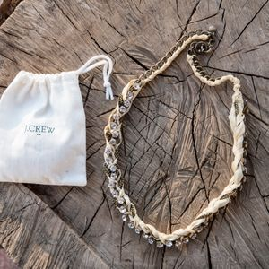 J.Crew Statement Necklace with Off-white Ribbon